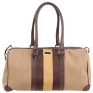 Authentic Gucci Yellow Stripe Canvas Handbag
